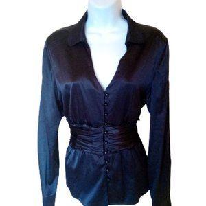 BOB MACKIE Black Tuxedo Satiny Blouse Size 8
